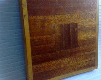 Wood Trivet. 1960's Vintage Modernist. Mod, Mid century, Danish Modern, Eames era.  Handmade.