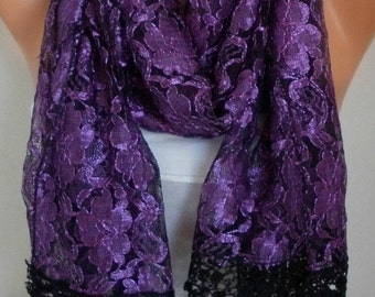 Purple Tulle Scarf, Shawl, Cowl Bridal Accessories Bridesmaid Gift Gift Ideas For Her Women's Fashion Accessories