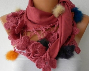 Brick Red Scarf Winter Scarf  Shawl Cowl Scarf Gift Ideas For Her Women's Fashion Accessories Christmas  Gift