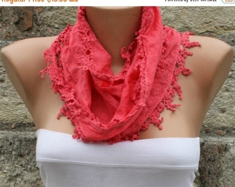 Red Cotton Scarf,Christmas Gift Easter, Necklace Cowl Scarf Gift Ideas For Her Women Fashion Accessories