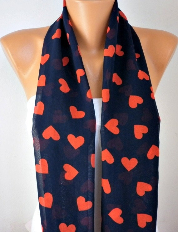 Heart Print Infinity Scarf, Spring Scarf Circle Scarf, Loop  Scarf, Gift Ideas For Her - LOVE - Women Fashion Accessories, best selling item