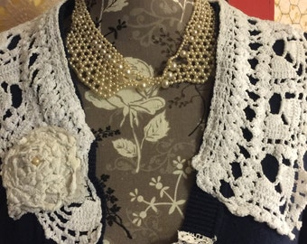 Romantic Vintage Cardigan size L. Vintage lace,doilies, linens. Beautiful.Ready to ship. Liz Claiborne embellished cardigan, restyled.