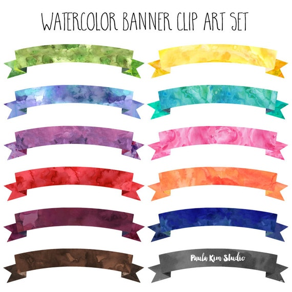 Watercolor Banner Clipart Instant Digital Download Banner