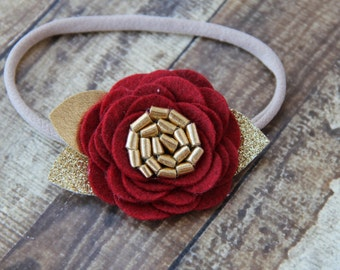 Dark Red and Gold Wool Felt Rose On Nylon Elastic Headband - One Size Fits All