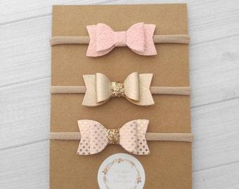 You Pick -  Mini Chunky Glitter and Faux Leather Bow Headbands- Blush,  Metallic Gold, Pink Dot - Nylon Headbands