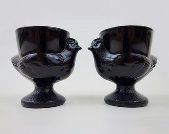 2 Vintage Birdies Black Milk Glass Egg Cups by Luminarc France