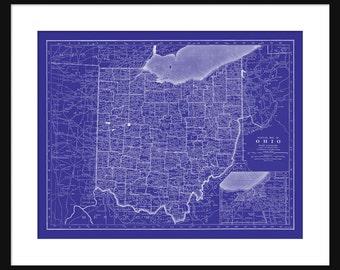 Ohio Map - Street Map Vintage Blueprint Print Poster