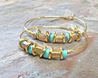 Gold Hoop Earrings Beaded Turquoise Hoop Earrings