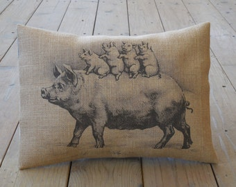 Piglets Burlap Decorative Pillow, Shabby Chic, Pigs, Farmhouse Pillows, INSERT INCLUDED