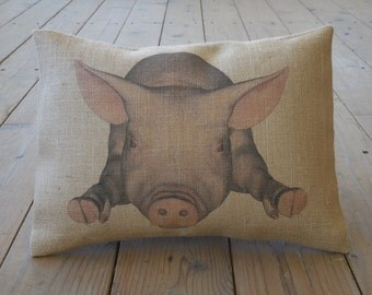 Pig Burlap Pillow, Shabby Chic Decor, Farmhouse pillows, INSERT INCLUDED