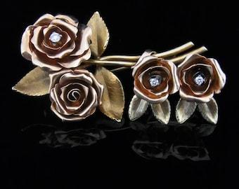 Tiffany & Co Jean Charles Vintage Diamonds 14k Rose Yellow Gold Earrings Brooch