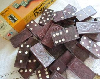 Dragon Double Six Dominoes     Milton Bradley   Brown Wooden Dominoes