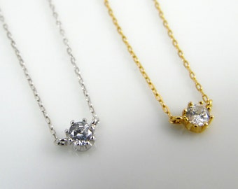 Tiny cz solitaire necklace, cz dot necklace, cz layering necklace, suspended cz necklace, available in gold or silver
