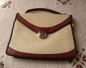 Leather Handbag- Tan and Brown
