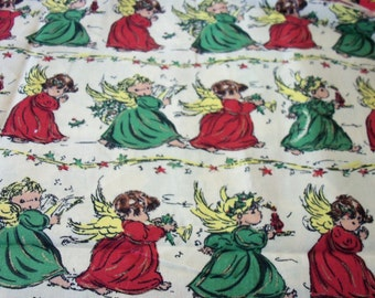 """Christmas Angels Fabric Colorful Fabric New 17"""" x 22"""""""
