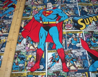 """Superman Comic Strip Fabric Rare and Hard to Find New 20"""" x 44"""""""