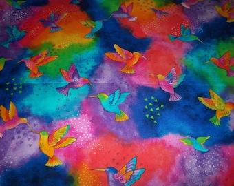 Hummingbirds Fabric Laurel Burch  Splash Flying Colors By The Fat Quarter