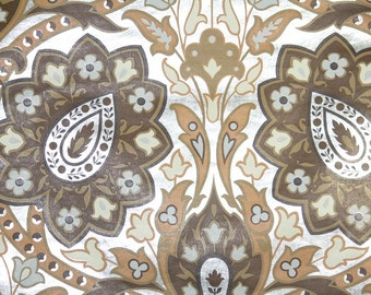 Retro Wallpaper by the Yard 70s Vintage Mylar Wallpaper – 1970s Brown Tan and Silver Paisley Damask Mylar