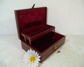 Vintage Mele Style Burgundy Leatherette Jewelry Box with Gold Trim Working Key & Secret Compartment in Dark Burgundy Velvet 2 Level Interior
