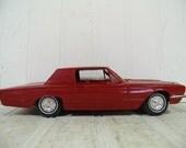 Vintage 1966 Ford Thunderbird Car Red Model Toy Kit Car - Mid Century Plastic Hand Crafted DIY Kit Figure - 300 HP 4-V / 390 V-8 Replica Car