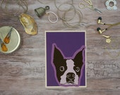 Dog greeting card-BIXBY offset purple ombre greeting card thank you note valentine boston terrier christmas  anniversary card birthday card