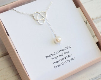 Sterling Silver Knot Necklace with Freshwater Pearl on Friendship Sentiment Card