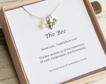 Sterling Silver Bee Necklace with Your Choice of Initial and Birthstone on Good Luck Sentiment