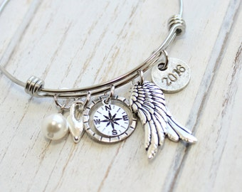 Fly to Your Dreams Graduation Silver Bangle Bracelet