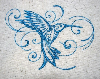 Waterproof Sandwich Bag Embroidered  - Food Safe Lining - Hummingbird Sketch