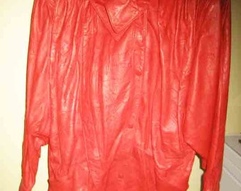 Vintage 80s Crushed Red Leather 3/4 Length Coat Size M