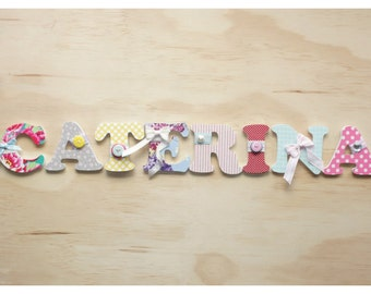 8 Fabric Covered Wooden Letters - 75mm by 6mm
