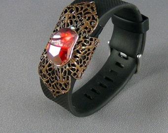 Fit Bit Slide, Jewelry - Swarovski Red Magma Rock, Natural Brass Clover Petal Filigree, Wrapped - Hand Crafted Artisan Jewelry