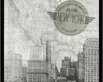 New York, lot of four paper napkins for decoupage, plus a large variety of other napkins in my shop