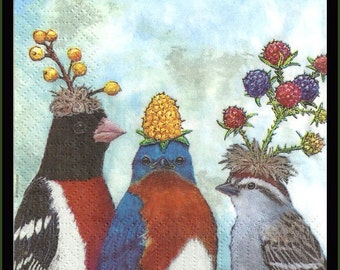 Paper Napkins 4 Pieces,Birds with berries, tissue paper for decoupage, 3ply quality tissue paper