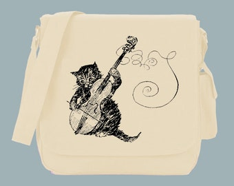 Fanciful Cat with Fiddle, Violin Vintage Messenger Bag, 15x11x4
