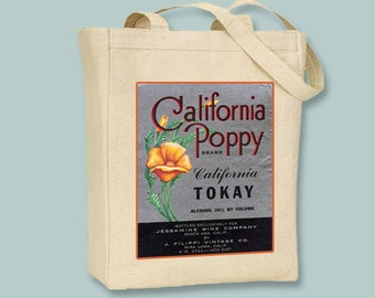 California Poppy Brand Wine Vintage Label Black or Neutral Canvas Tote  -- selection of sizes available