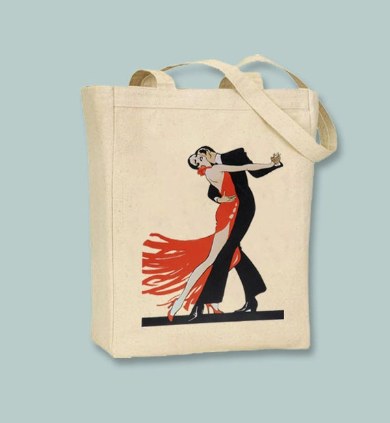 Vintage Salsa Ballroom Dance Art Deco Print, 1910 Canvas Tote -- Selection of sizes available