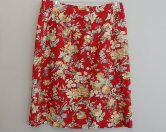 90s orvis Floral skirt / High waisted Flower Linen Skirt / Plus Size XL