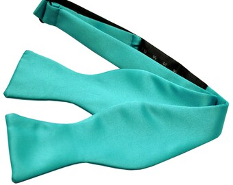 Men's Solid Aqua Blue Self-Tie Bowtie, for Formal Occasions