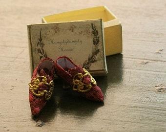 Miniature silk brocade shoes - burgundy silk brocade with a brass buckle