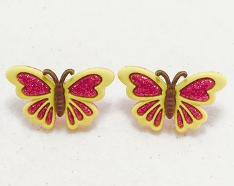 Pink butterfly Glitter Earrings, Butterfly Earrings, Spring Earrings, Summer Earrings, Girls Earring, Button Earrings