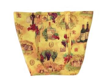 Wine Tote Bag, Winery Cloth Purse, Wine Bottle, Wine Glass, Grapes, Handmade Fabric Handbag, Vineyard, Shoulder Bag