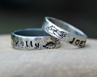 Hand Stamped Ring for Little Boys - WEDDING BAND - Hand stamped Wedding Band - Unique Wedding Band - Boys Ring -Mens Ring -Hand Stamped Band