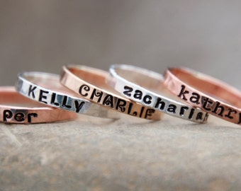 1 HAND STAMPED STACKING Ring ~ Stamped Name Ring ~ Name Ring ~ Mother's Ring ~ Stacking Ring ~ Stamped Ring ~ Stackable Ring ~ Personalized