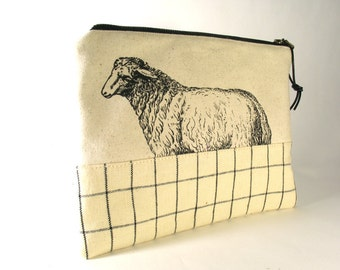 Sheep Print Knitting Tool Bag, Needle Case, Canvas and Linen IN STOCK