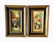 Vintage Set of 2 Small Oil Paintings, Vintage Oil Paintings, Vintage, Vintage Home Decor, Oil Paintings