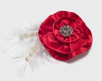 Red Satin Flower Hair Embellishment, Hair Embellishment, Hair Accessories, Hair Supply, Crafting Supply
