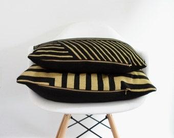 Doha lumbar pillow cover handprinted in metallic gold on black organic hemp