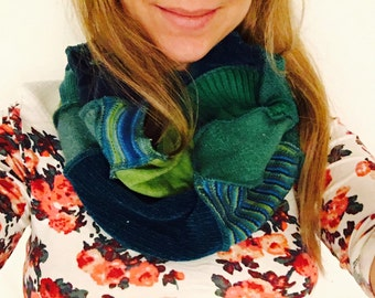 Blue and teal scarf chunky cowl patchwork upcycled by HopeFloats