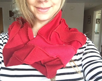 ruby red infinity scarf snood  scarf chunky cowl patchwork upcycled by HopeFloats